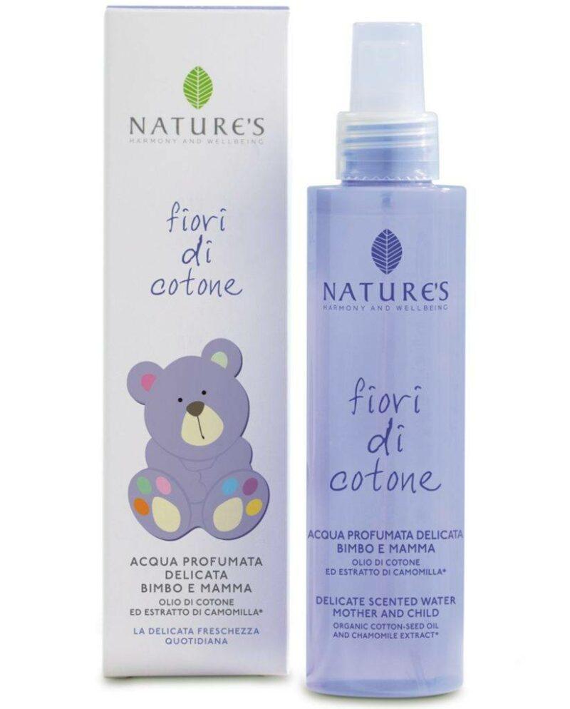 Fiori di Cotone Delikatnie pachnąca woda dla mamy i dziecka z olejkiem z nasion bawełny i ekstraktem z rumianku organicznego